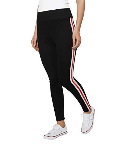 Weiße Streifen Leggings (KRISP Damen Schwarze Leggins Mit Streifen Sport, Schwarz (3287), 44, 3287-BLK-16)
