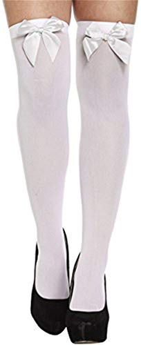 Techrace Womens Girls Solid Color Gestreift Overknee Strümpfe Halloween Fancy Dress Kostüm Socken Bögen Tie Lace