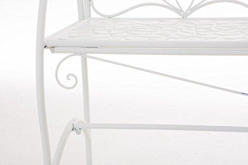 CLP Metall-Gartenbank RIEF, Landhausstil, lackiertes Eisen, ca. 110 x 50 cm, Design nostalgisch antik Weiß - 6