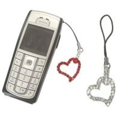 Kit DGZSHRD - Kit colgante para smartphone, modelo de corazón con cristales Swarovski, Rojo