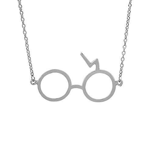 Rrunzfon Harry Potter Gläser mit Lightning Bolt Charm Anhänger Halskette (Silberbeschichtung) -