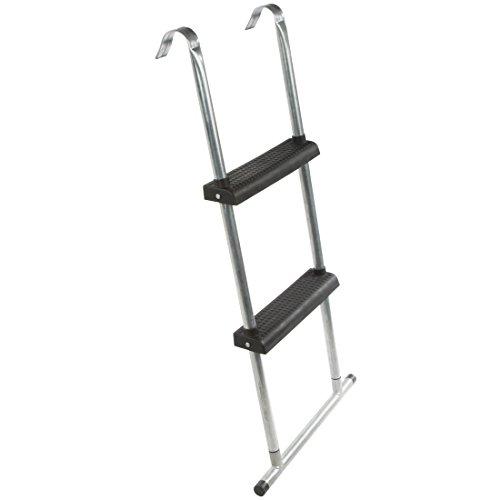 Ultrasport Trampolin-Leiter 95 cm mit Bodenquerstrebe, Einstiegshilfe fürs Trampolin, mit 2 Stufen, Leiter für Gartentrampoline und Freizeittrampoline mit 305 cm bis 430 cm Durchmesser, Silber/Schwarz