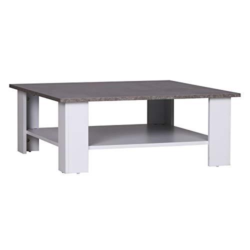 homcom Tavolino da caffè Ampio Ripiano Stabile da Soggiorno in Pannello Truciolare 80 x 80 x 31,5cm Cemento, Bianco