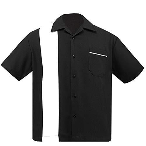 Steady Clothing Herren Bowlinghemd, Popeline, Einteiler, Schwarz/Weiß - Schwarz - X-Groß