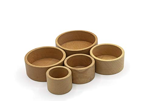 Seafar Wooden Toys, Stacking Shape Toys Baby Natural Cup Games for babies. Nesting Bowls sorting for young toddlers for age 1 year old. Gift for boy and girl