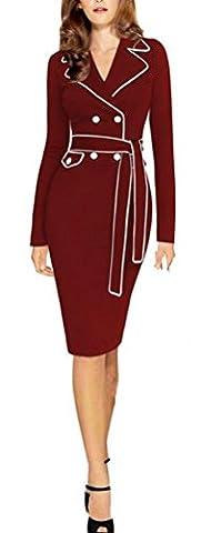 SunIfSnow - Robe spécial grossesse - Moulante - Uni - Col Chemise À Patte Boutonnée - Manches Longues - Femme - rouge - X-Large