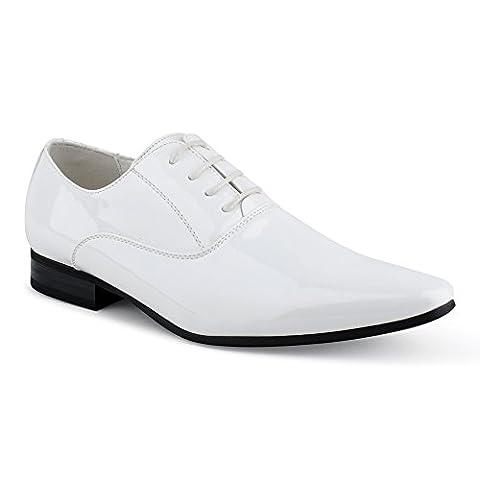 Herren Derby Blockabsatz Oxford Businessschuhe Casual Sneaker Halbschuhe Slipper Hochzeitsschuhe Schnürschuhe Lackschuhe Schuhe Neuss-Weiß EU