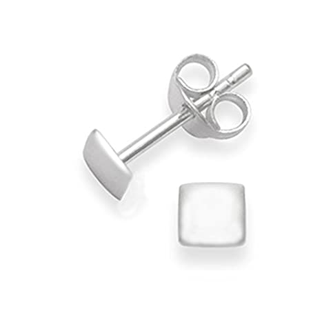 Sterling Silver Square Stud Earrings - SIZE: 4mm x 1mm thick (flat) 5332. Gift Boxed