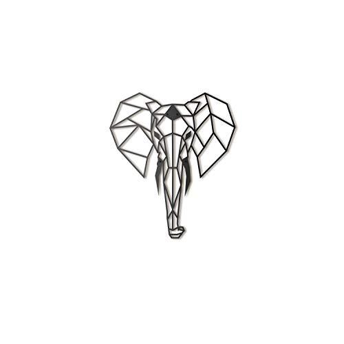 Hoagard Elephant Metal Wall Art 45 cm x 52 cm | Arte de Pared geométrico de Metal y decoración de Pared para Navidad