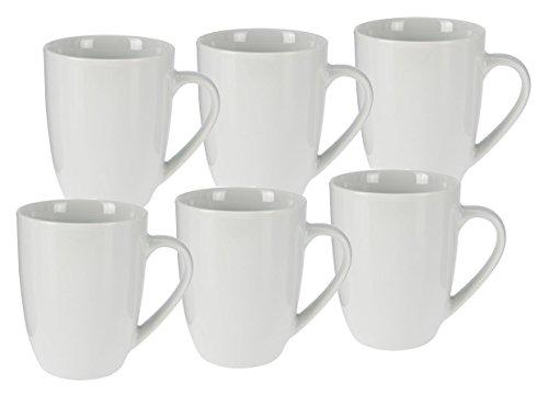 Kaffeetasse 350 ml aus Porzellan - 6er Set / weiß - Kaffeebecher Tasse Becher Becher Tasse Set