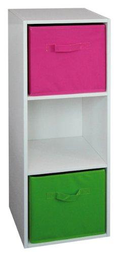 Holzregal mit 3 Fächern # weiss hochglanz # + zwei Aufbewahrungsboxen in grün und pink (Hochglanz-aufbewahrungsbox)