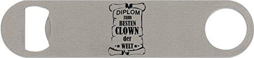 Edelstahl-Flaschenöffner groß, Diplom zum besten Clown der Welt