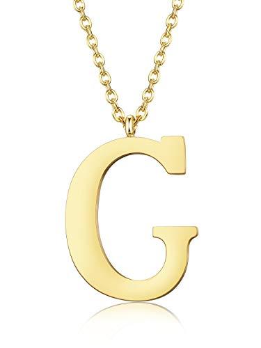 BE STEEL A-Z Initialen Name Kette für Frauen Damen Männer Herren Edelstahl Anhänger Halskette Kette Silber/Gold/Schwarz, Länge 56 cm