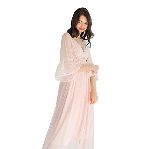 0 Touch Frühling und Sommer Netz Garn V-Ausschnitt sexy Langarm-Schlafkleid Pink