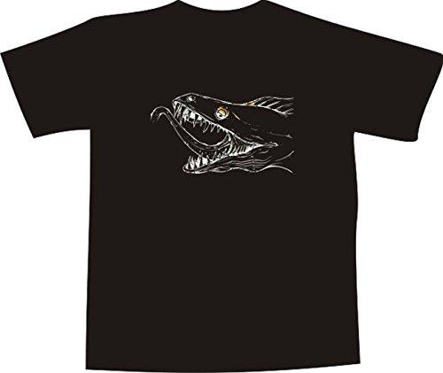 T-Shirt E373 Schönes T-Shirt mit farbigem Brustaufdruck - Logo / Grafik - minimalistisches Design - grusliges Seeungeheuer / Loch Ness Schwarz