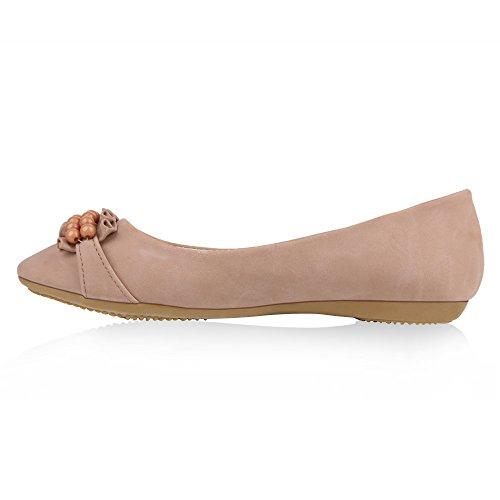 Damen Ballerinas Lack Slipper Flats Schuhe Lederoptik Pink Pink Velours