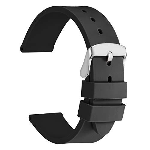WOCCI 24mm Cinturino Silicone Morbido con Fibbia in Acciaio Inossidabile,...
