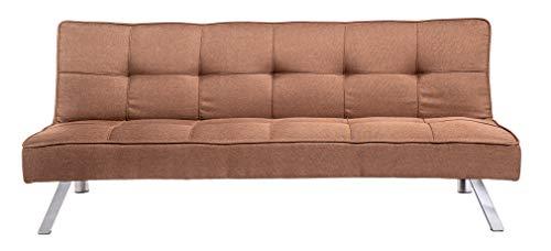 Enrico coveri contemporary divano letto marrone 3 posti elegante con funzione letto in tessuto, dimensioni: 175 x 83 x 73 cm