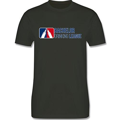 Shirtracer JGA Junggesellenabschied - Bachelor Drinking League - Herren T-Shirt Rundhals Army Grün
