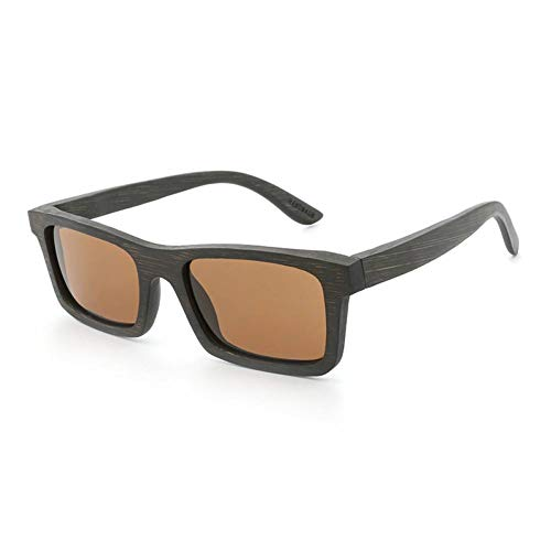 GAOHAITAO High Bamboo Wood Sunglasses for Men Women Designer Polarized Uv400 Eyewear,Brown Black
