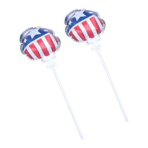 Amosfun 2 stücke 4. Juli amerikanische Flagge folienballon für viertens Juli patriotische Partei Dekorationen liefert 11 cm (Patriotische Partei Liefert)
