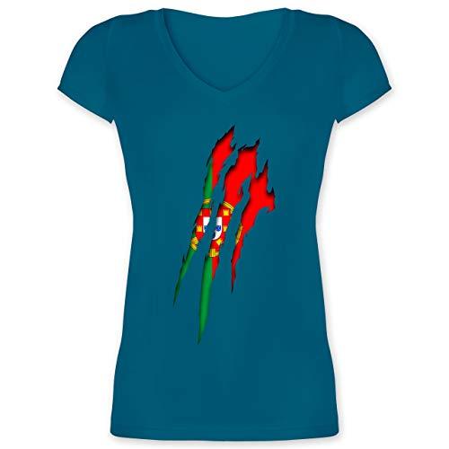 Länder - Portugal Krallenspuren - S - Türkis - XO1525 - Damen T-Shirt mit V-Ausschnitt