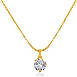 JFL - Jewellery for Less Western Wear High Gold Plated Solitaire Diamond Designer Delicate Pendant for Women