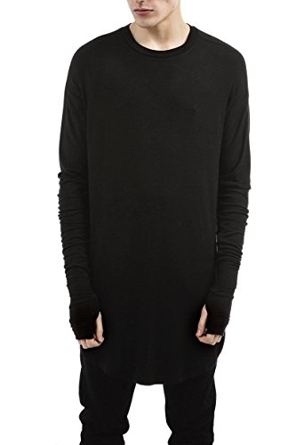 LILBETTER Herren Fashion Langarm Crewneck T-Shirt (grau S) (T-shirt Hop Hip Schwarzes)