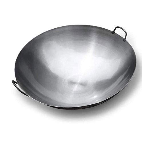 SMLZV Martillado a mano tradicionales no recubiertos woks de hierro con mango - Oído adecuados for la cocina de inducción, eléctricas y de gas natural (Size : 50cm)