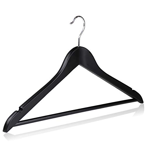 (The Hanger Store 10 Holz Kleiderbügel Schwarz Kleidung mit Kerben und Bar für Kostüme)
