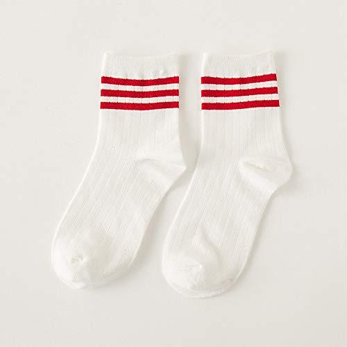 en Cute Girls Gestreifte Baumwolle Kurze Strümpfe Komfortable atmungsaktive Socken, A3(5 Paare) ()