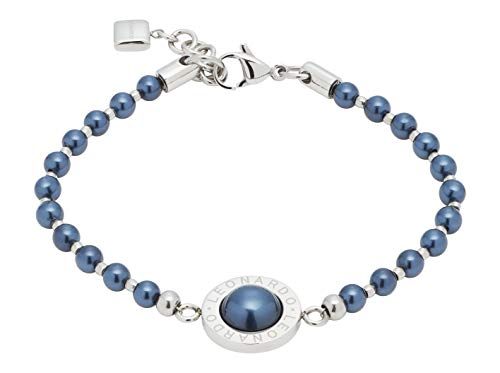 JEWELS BY LEONARDO Damen-Armband Matrix Perla Nero, Edelstahl mit blauschwarzen Imitations-Perlen und LEONARDO-Gravur, Länge 185 mm, 016682