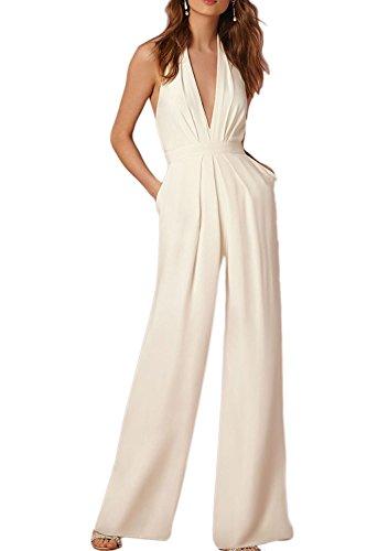 Damen Mode Jumpsuit IHRKleid® Tiefe V Eleganter Overall (M, Weiß) (Pailletten-gürtel Der Elastischer Taille In)