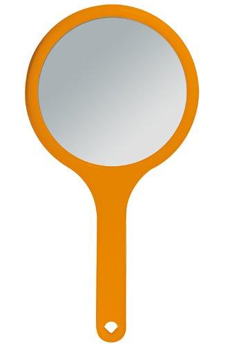 Kosmetex Handspiegel mit 2-fach Vergrößerung, 2 Spiegel-Flächen RS 1:1, Kosmetik-Spiegel, Orange