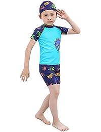 Mitlfuny Verano Conjuntos de Surf Traje de Baño 3 Piezas Manga Corta Bañador Camisetas Pantalones Cortos Gorro de Natación para Niñas Niños Dinosaurio Dibujos Animados Ropa de baño para bebés 1-8 Años