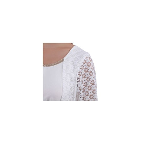 La Modeuse - Blouse à col rond orné de strass Blanc