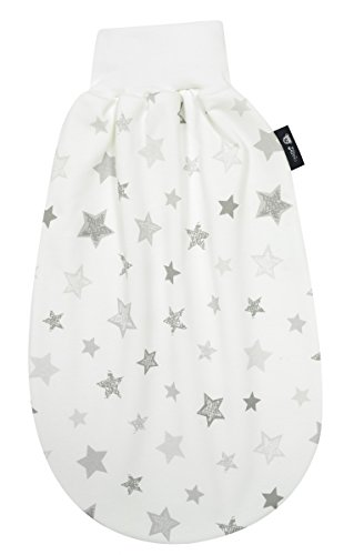 Alvi Baby Schlupfmäxchen light Exclusiv | Schlafsack 0 - 6 Monate | Strampelsack mit elastischem Umschlagbund | Unisex Pucksack aus Baumwolle & großer Strampelfreiheit, Design:Silver Stars silbergrau 786-9