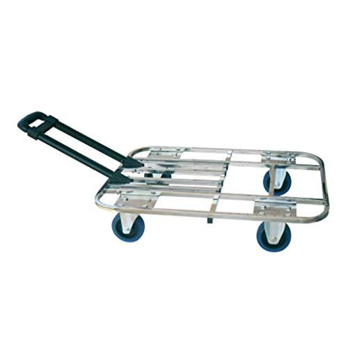 Tellerwagen Wagen Zusammenklappbarer Wagen Sackkarre Gepäckwagen Schuttwagen (Color : Silver, Size : 60 * 40cm)