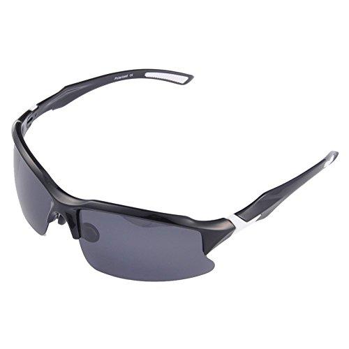 Gafas polarizadas de ciclismo para hombres, irrompibles, UV 400, para actividades al aire libre, STS014, negro / blanco