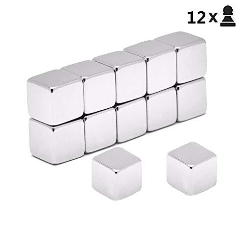 12Pcs Juego extra fuerte imanes de cubo de neodimio,imanes de dados para tableros magnéticos de vidrio...