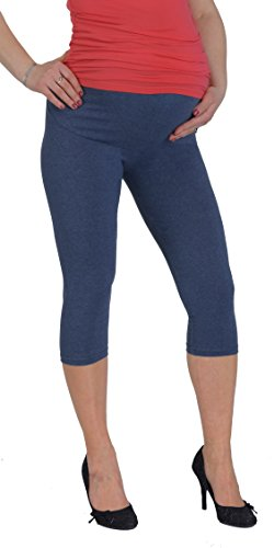 Jandaz® Standard- oder Winter-Leggings für Schwangere, volle Länge, Dreiviertel-Länge oder kurz, 95% Baumwolle, in vielen Farben erhältlich - Cropped Denim