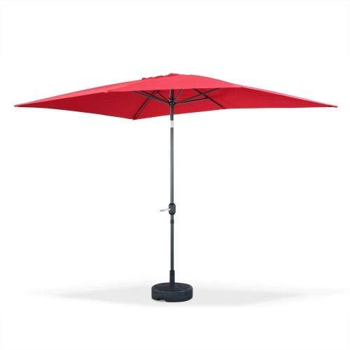 Alice's Garden Parasol Droit rectangulaire 2x3m - Touquet Rouge - mât Central en Aluminium orientable et manivelle d'ouverture