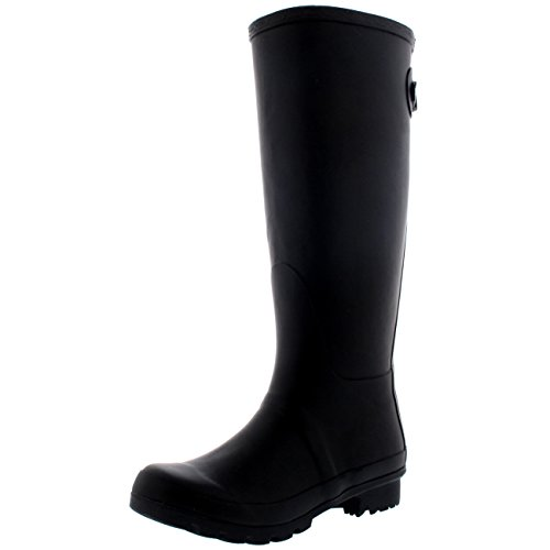 Womens Adjustable Back Tall Winter Rain Wellies Waterproof Wellington Boot - Black...