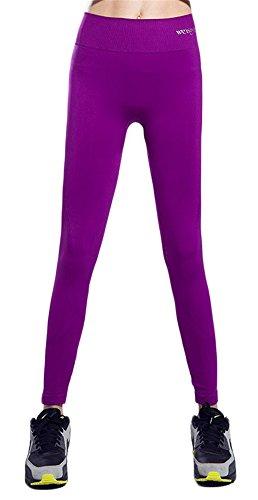 GoodNight Pantaloni sportivi delle calzamaglia delle calzamaglia di Yoga senza giunte di alta veduta delle donne Viola
