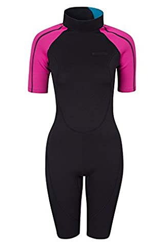 Mountain Warehouse Shorty Womens Wetsuit - Neoprene Fabric, Great Fit with Easy Glide Zip, Extended Puller & Flatlock Seams - Perfect for the Beach this Summer Pink