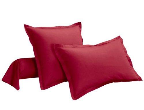 Taie d'oreiller 100% percale de coton Uni 63 x 63 cm Rouge