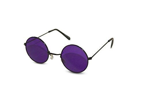 Neon Nation Party-Sonnenbrille John Lennon mit Hippie-Tönen und farbigen Gläsern für Damen Einheitsgröße Lila Linse (schwarzer Rahmen)
