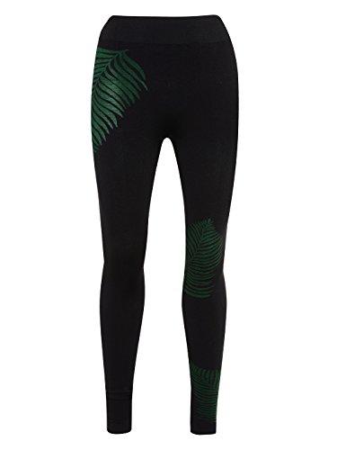 9a5f992020a33 Manuka Life Primary, Leggings Donna, Black/Emerald Green, S