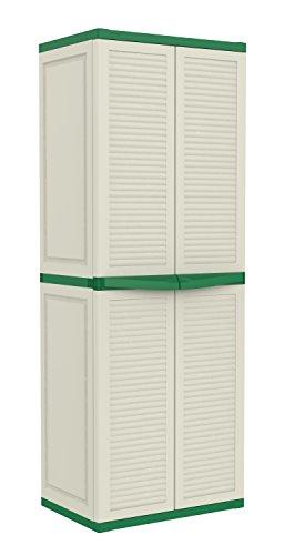 Keter Basic Louvre Three Shelf Plastic Multi-Purpose Cabinet, 65 x 45 x 177 cm