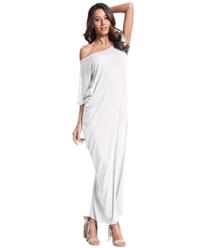 ZANZEA Femme Col Bateau Manches Longues Epaule Nue Robe Longue de Cocktail Soirée Blanc